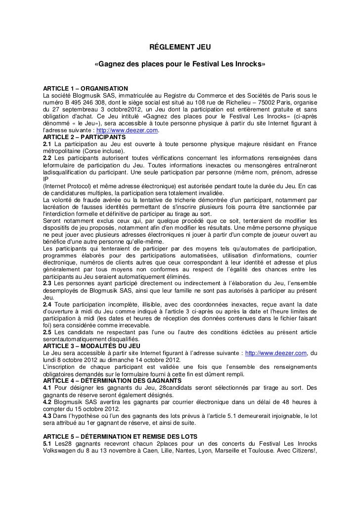 RÉGLEMENT JEU                   «Gagnez des places pour le Festival Les Inrocks»ARTICLE 1 – ORGANISATIONLa société Blogmus...