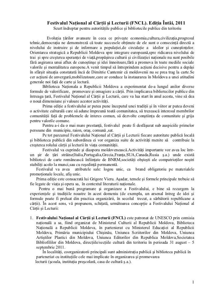 Festivalul Naţional al Cărţii şi Lecturii (FNCL). Ediţia Întâi, 2011              Scurt îndreptar pentru autorităţile publ...