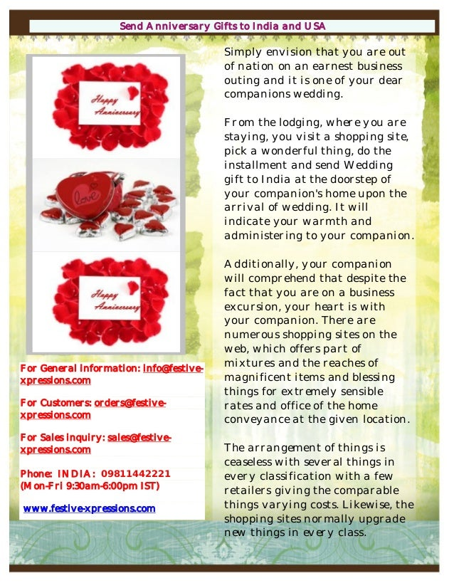 Send Wedding Anniversary Gifts To India