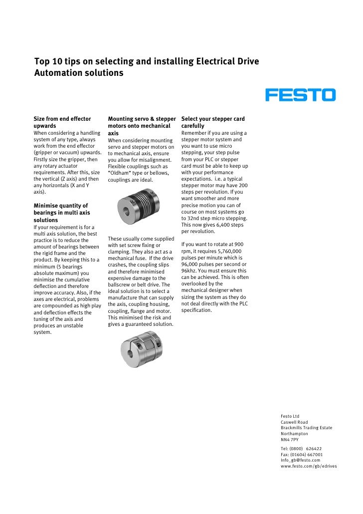 Festo Top 10 Tips For Electric Drive Automation[1]