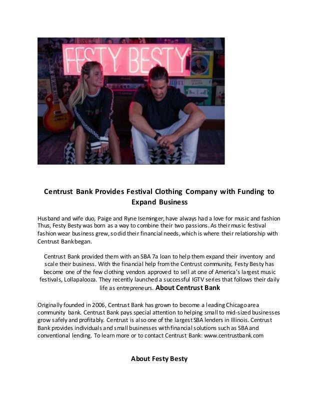 Centrust Bank Provides Festival Clothing Company with Funding to Expand Business Husband and wife duo, Paige and Ryne Isem...