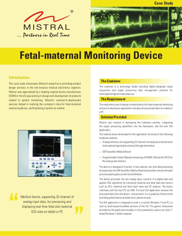 Medical device, supporting 32-channel ofanalog input data, for processing anddisplaying real-time fetal and maternalECG da...