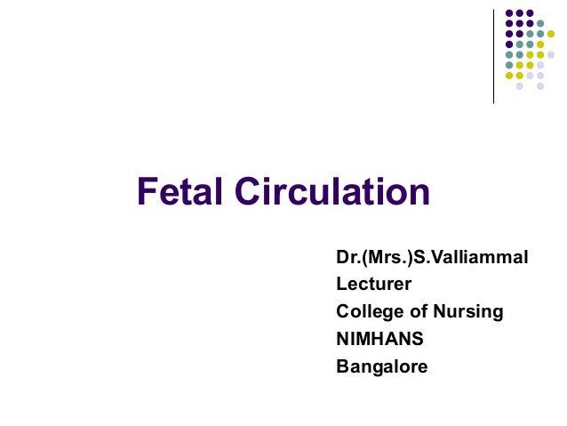Fetal Circulation           Dr.(Mrs.)S.Valliammal           Lecturer           College of Nursing           NIMHANS       ...