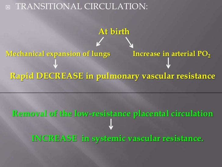    TRANSITIONAL CIRCULATION:           High arterial PO2   (In several days)       Constriction of ductus arteriosus    I...