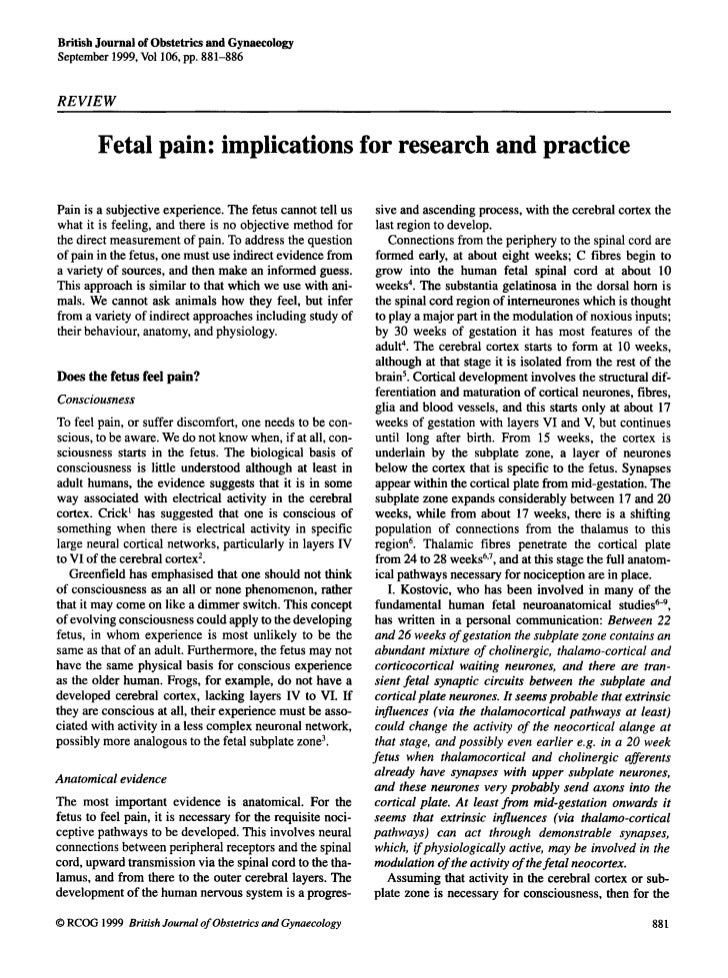 British Journal of Obstetrics and GynaecologySeptember 1999, Vol106, pp. 881-886RE VIEW        Fetal pain: implications fo...