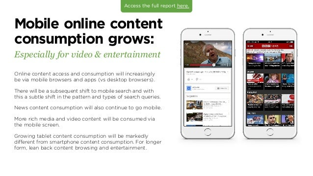 Mobile online content consumption grows: Especially for video  entertainment Online content access and consumption will in...