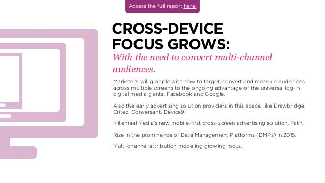 With the need to convert multi-channel audiences. CROSS-DEVICE FOCUS GROWS: Marketers will grapple with how to target, con...