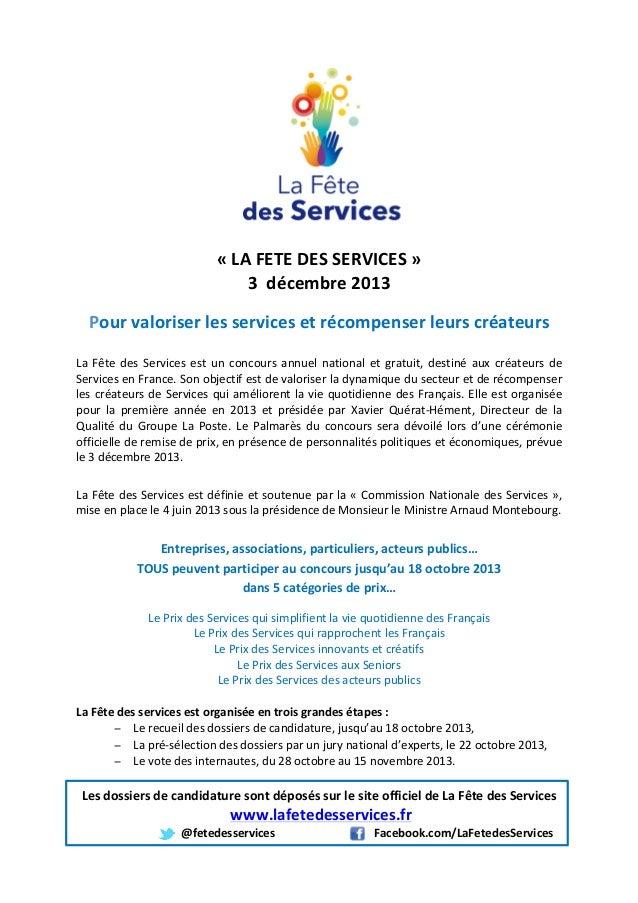 «  LA  FETE  DES  SERVICES  »   3    décembre  2013      Pour ...