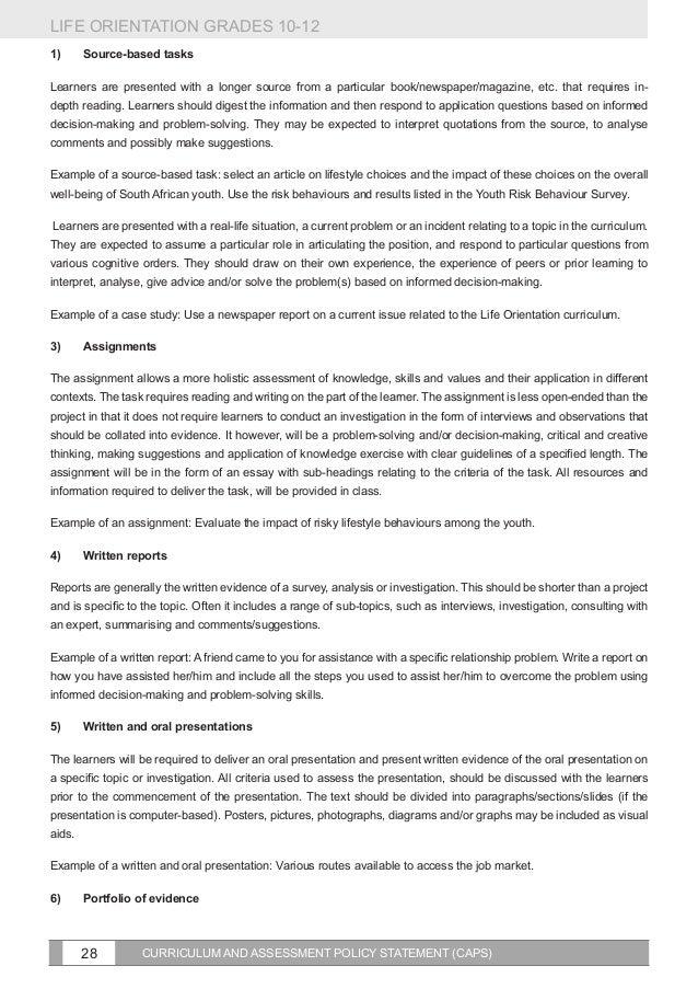 Life orientation grade 12 assignment task 2 2017 memo