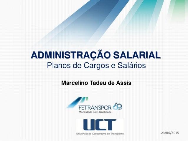 23/06/2015 ADMINISTRAÇÃO SALARIAL Planos de Cargos e Salários Marcelino Tadeu de Assis