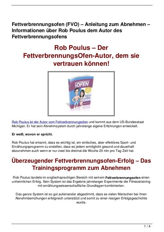 Fettverbrennungsofen (FVO) – Anleitung zum Abnehmen –Informationen über Rob Poulus dem Autor desFettverbrennungsofens     ...