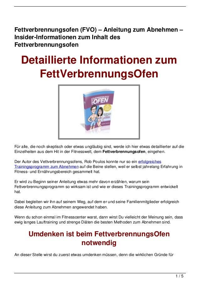 Fettverbrennungsofen (FVO) – Anleitung zum Abnehmen –Insider-Informationen zum Inhalt desFettverbrennungsofen   Detaillier...