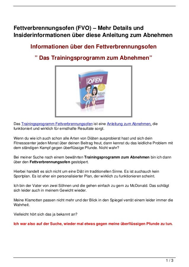 Fettverbrennungsofen (FVO) – Mehr Details undInsiderinformationen über diese Anleitung zum Abnehmen          Informationen...
