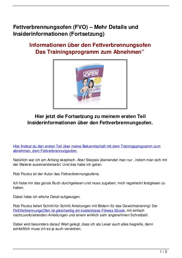 Fettverbrennungsofen (FVO) – Mehr Details undInsiderinformationen (Fortsetzung)          Informationen über den Fettverbre...
