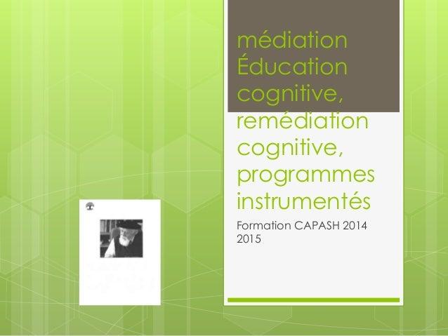 médiation Éducation cognitive, remédiation cognitive, programmes instrumentés Formation CAPASH 2014 2015