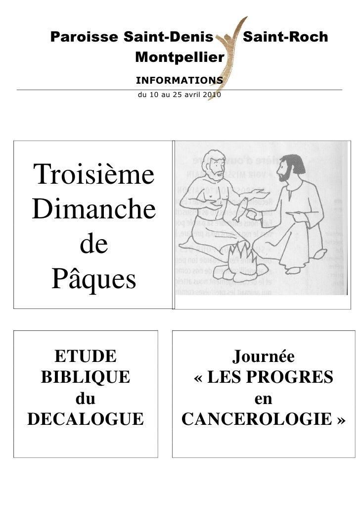 Paroisse Saint-Denis               Saint-Roch            Montpellier            INFORMATIONS            du 10 au 25 avril ...