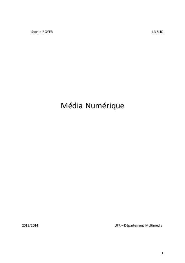 Sophie ROYER  L3 SLIC  Média Numérique  2013/2014  UFR – Département Multimédia  1