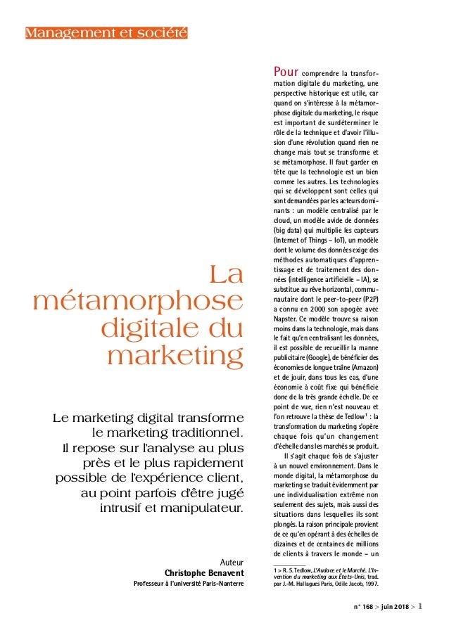 n° 168 > juin 2018 > 1 Pour comprendre la transfor mation digitale du marketing, une perspective historique est utile, ca...