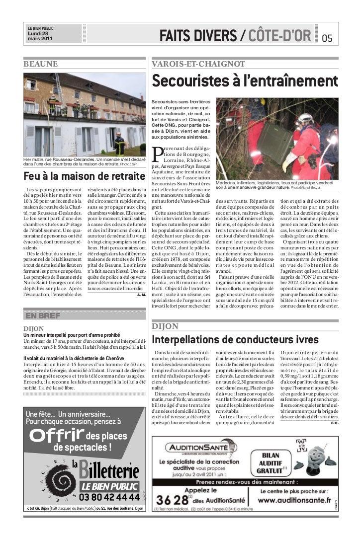 LE BIEN PUBLIC  Lundi 28  mars 2011                                                                     FAITS DIVERS / CÔT...