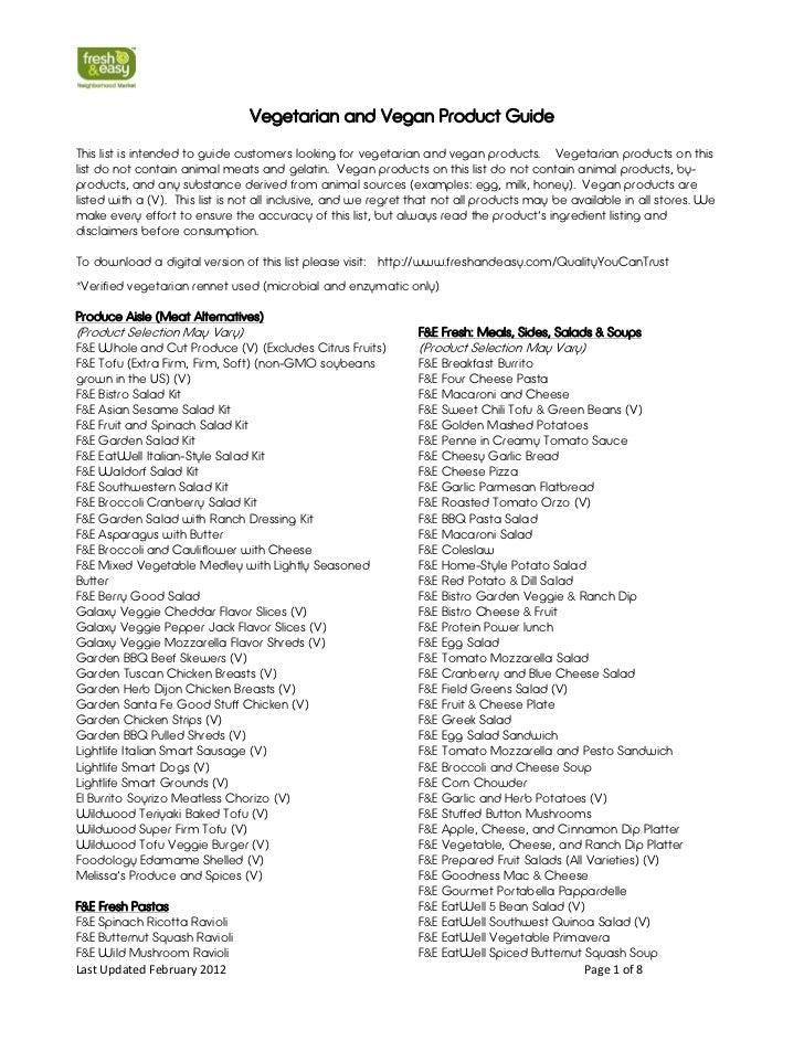 Fresh & Easy Neighborhood Market vegetarian & vegan shopping list