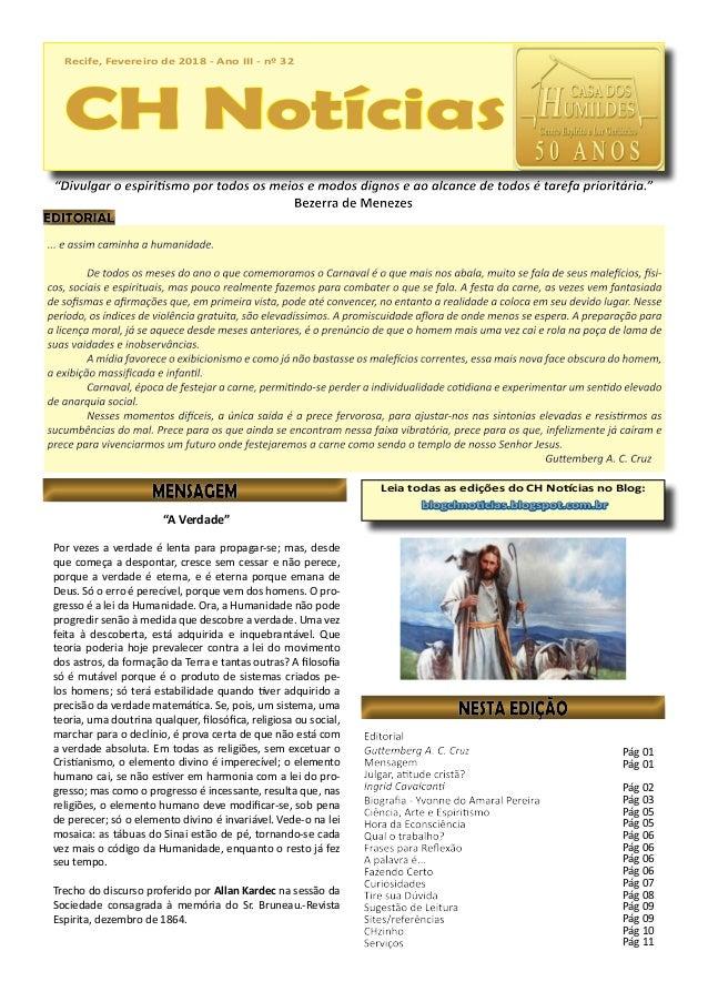 Recife, Fevereiro de 2018 - Ano III - nº 32 CH Notícias Recife, Fevereiro de 2018 - Ano III - nº 32 CH Notícias Leia todas...