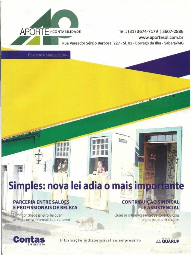 APORTE ~CONTABILlDADE Tel.: (31) 3674-7179 I 3607-2886 ~ ~ ~ www.aportesol.com.br ~ ~ _ Rua Vereador Sérgio Barbosa, 227 -...