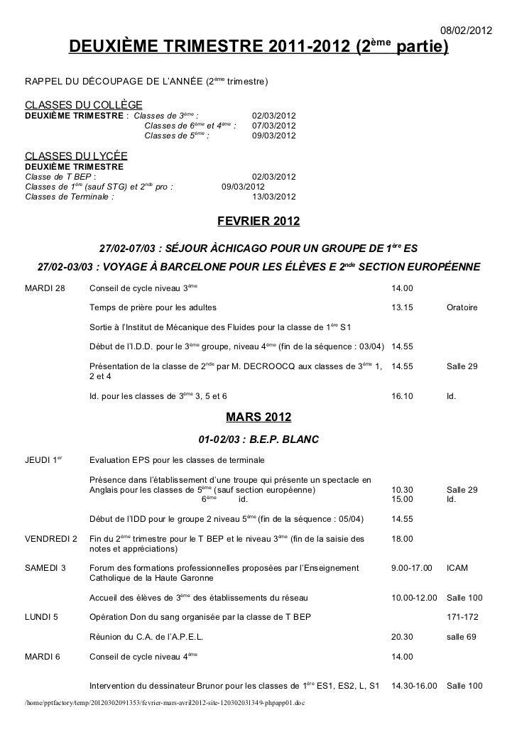 08/02/2012              DEUXIÈME TRIMESTRE 2011-2012 (2ème partie)RAPPEL DU DÉCOUPAGE DE L'ANNÉE (2ème trimestre)CLASSES D...