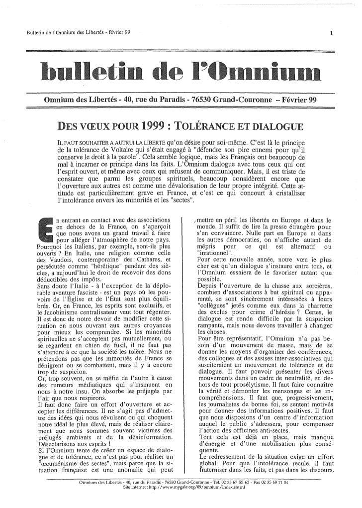 Bulletin de lOmnium des Libertés - février 99                                                                             ...