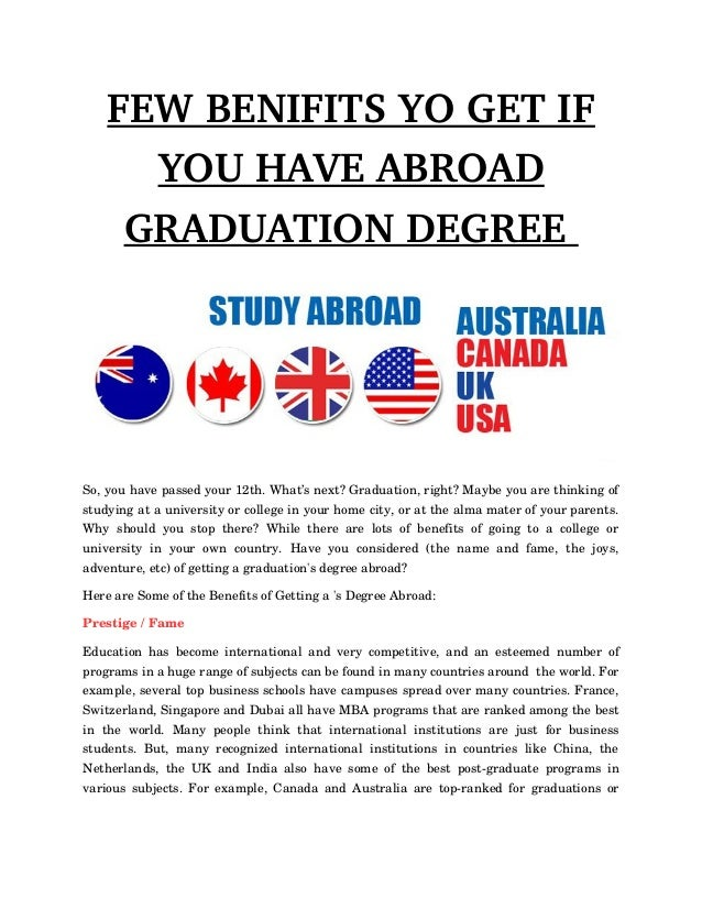 FEWBENIFITSYOGETIF YOUHAVEABROAD GRADUATIONDEGREE So,youhavepassedyour12th.What'snext?Graduation,right?M...
