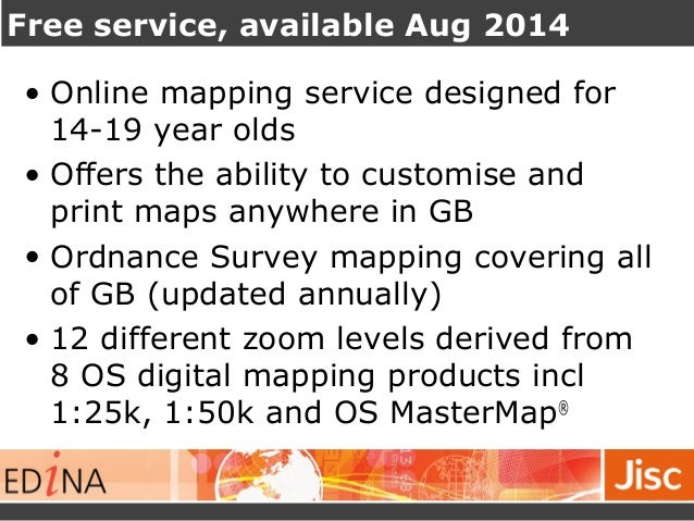 Free service, available Aug 2014  • Online mapping service designed for  14-19 year olds  • Offers the ability to customis...