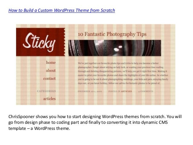wordpress theme development tutorial pdf