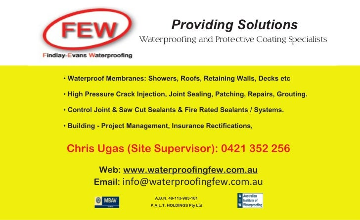 Providing SolutionsWaterproofing and Protective Coating Specialists