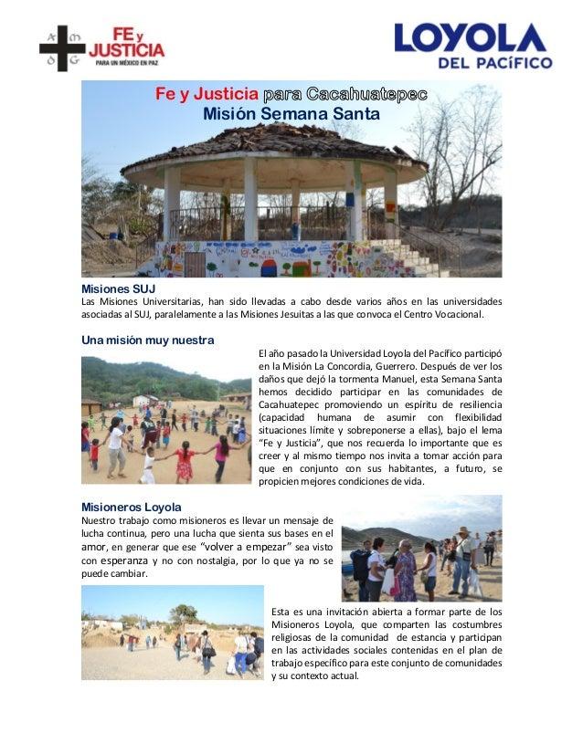 Fe y Justicia Misión Semana Santa Misiones SUJ Las Misiones Universitarias, han sido llevadas a cabo desde varios años en ...