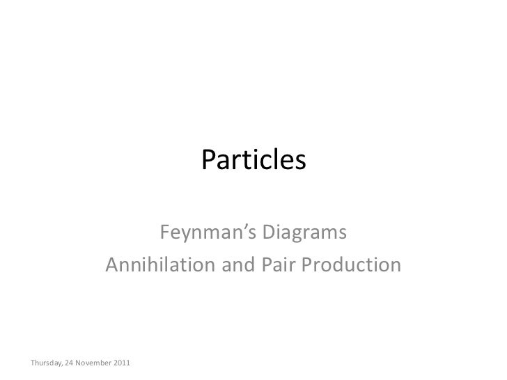 Particles                        Feynman's Diagrams                   Annihilation and Pair ProductionThursday, 24 Novembe...
