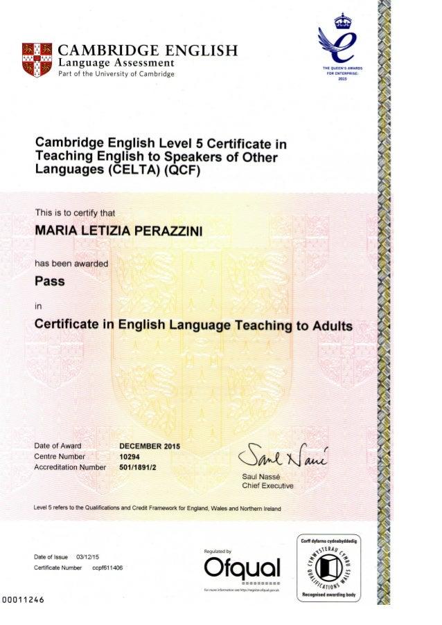celta cambridge certificate perazzini