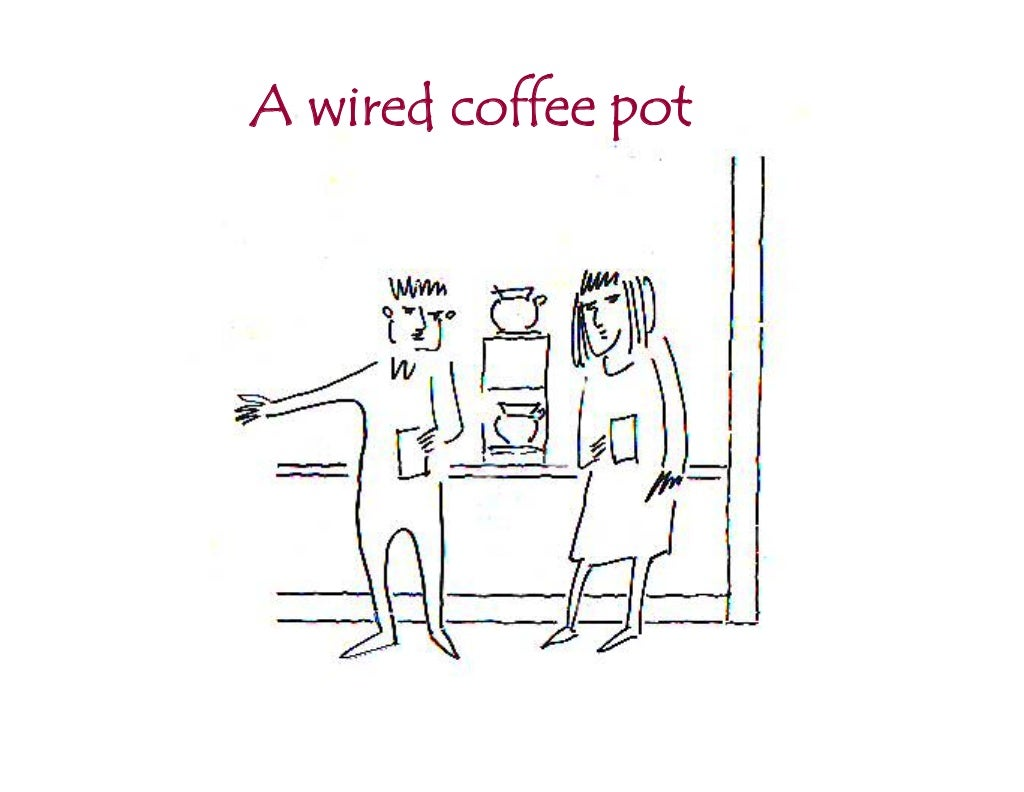 A wired coffee pot