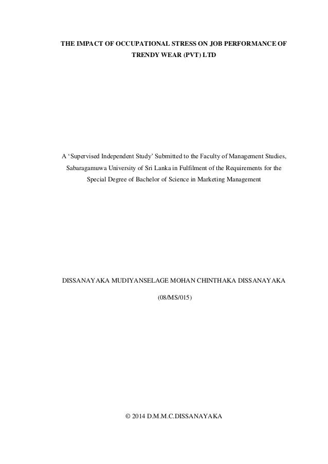 stress management and work performance thesis Free stress management papers, essays decentralization control management prides itself in workers autonomy and high performance work systems in respect to.