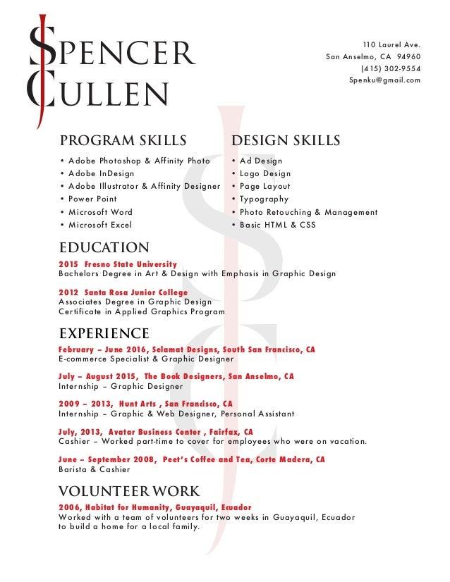Spencer Cullen Resume 2016