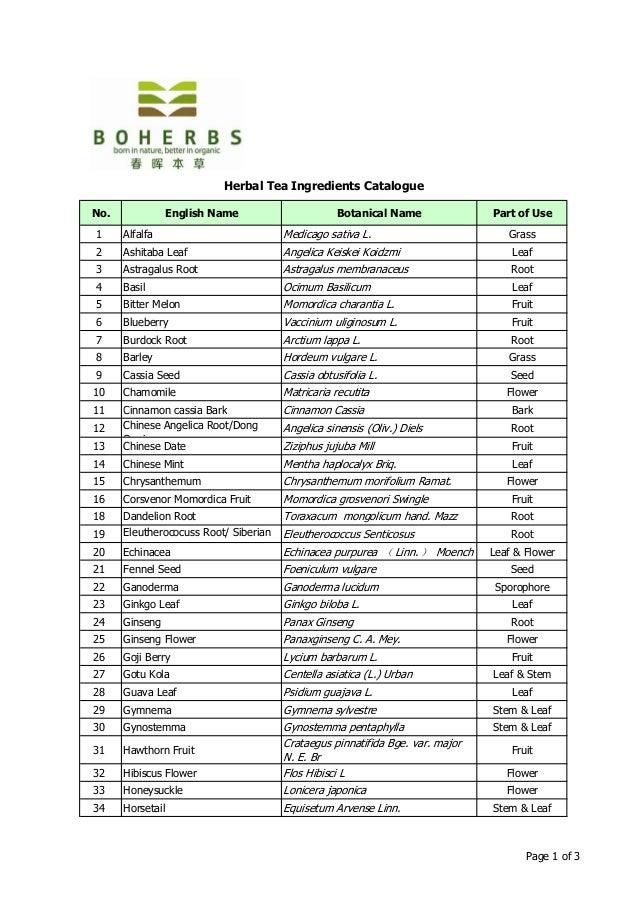 Boherbs Catalogue Herbal Tea Ingredients