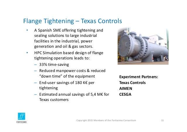 FlangeTightening– TexasControls Copyright2015MembersoftheFortissimoConsortium 11 ExperimentPartners: TexasContr...