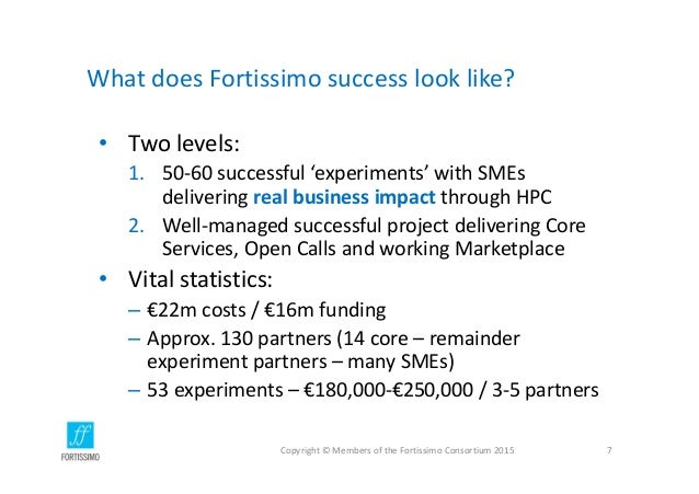 WhatdoesFortissimosuccesslooklike? • Twolevels: 1. 50‐60successful'experiments'withSMEs deliveringrealbusines...