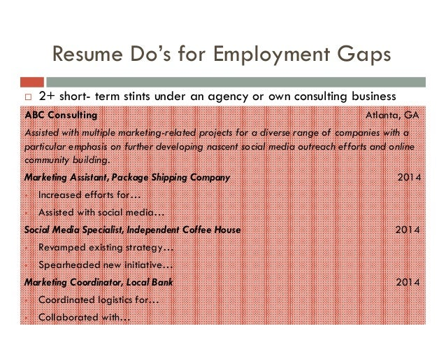 ADDRESSING THE GAP ON COVER LETTERS ...  Explaining Gaps In Resume