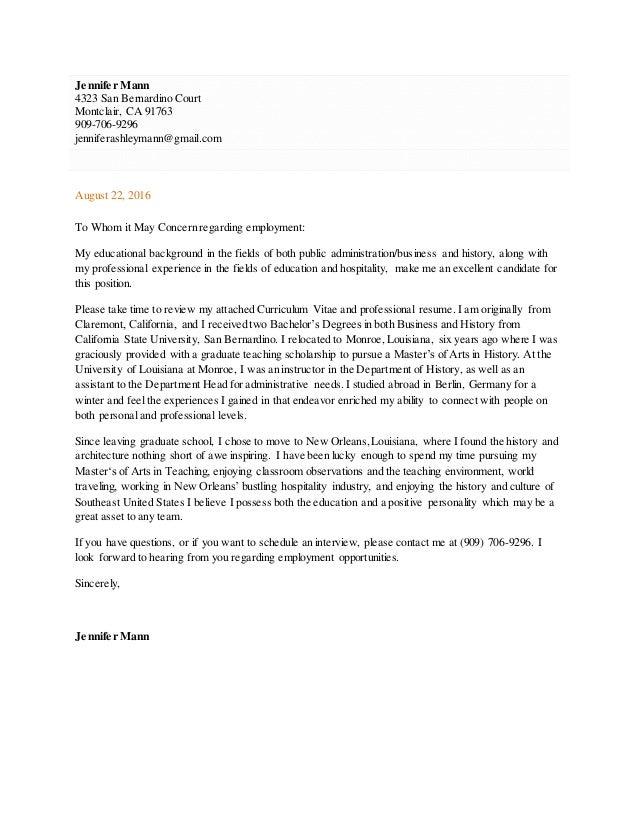 Jennifer Mann Cover Letter and CV 2016