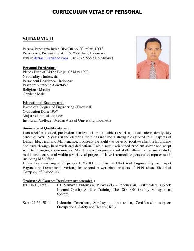 curriculum vitae of personal sudarmaji perum panorama indah bloc b8 no