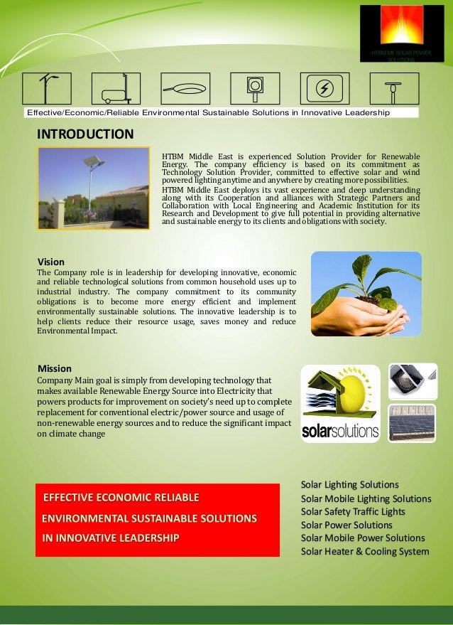 SOLAR LIGHTING SOLUTIONS Effective/Economic/Reliable Environmental Sustainable Solutions in Innovative Leadership Environm...