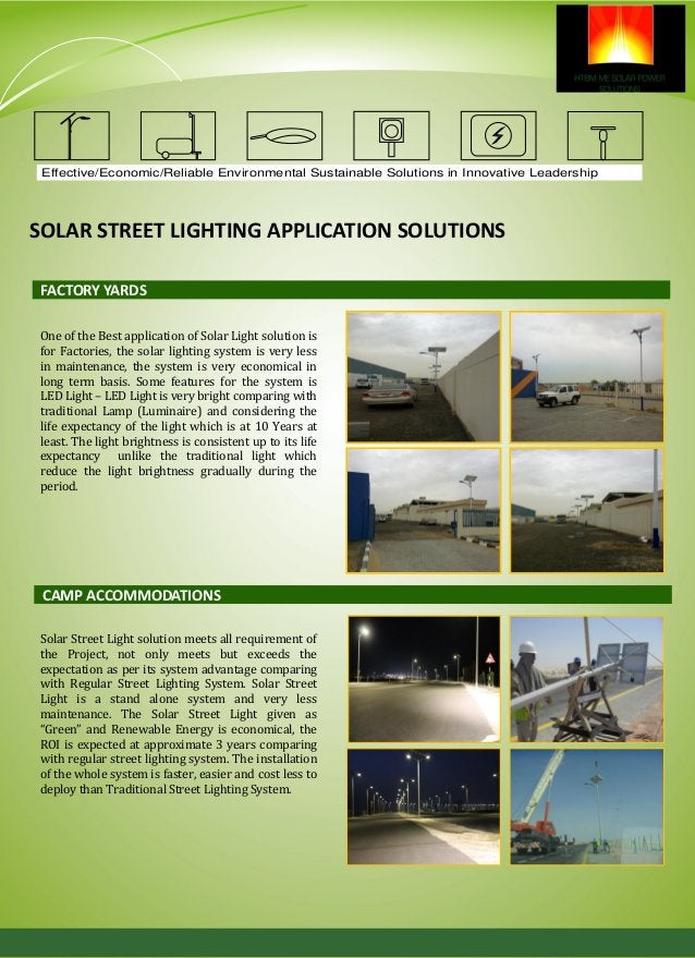 Effective/Economic/Reliable Environmental Sustainable Solutions in Innovative Leadership SOLAR STREET LIGHTING APPLICATION...