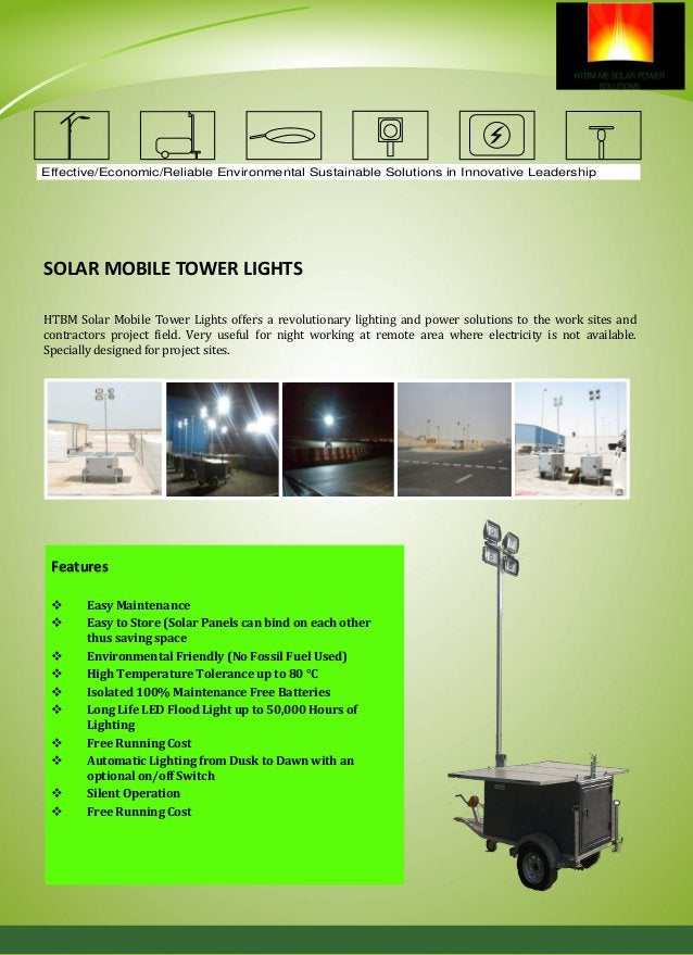 Effective/Economic/Reliable Environmental Sustainable Solutions in Innovative Leadership Solar Mobile Tower Light is ultim...