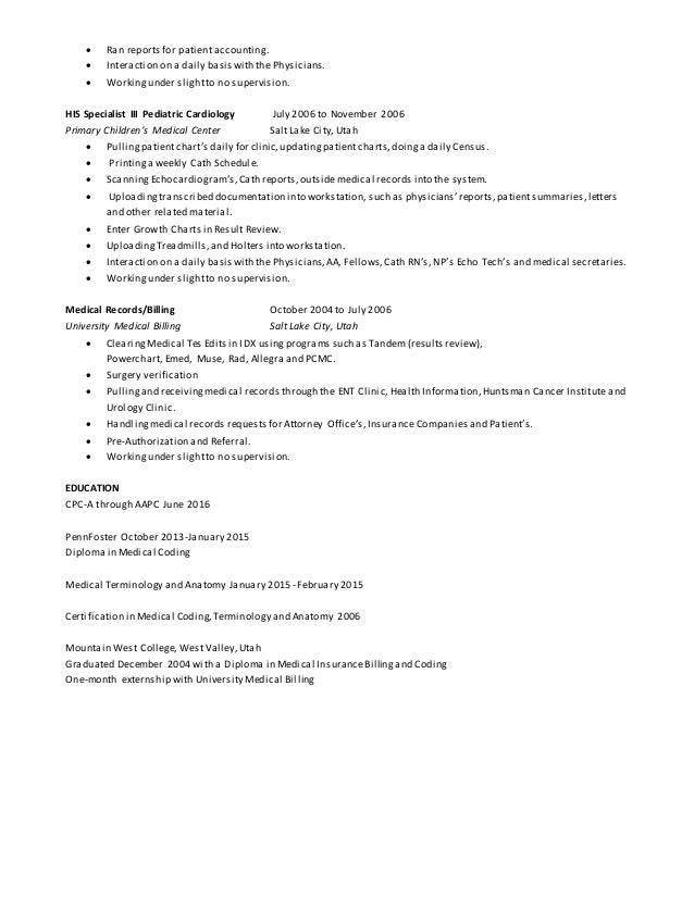 Medical Coder Resume Sample Medical Coding Resume Sample Entry