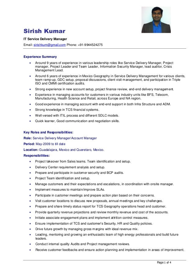 Charming Page 1 Of 4 Sirish Kumar IT Service Delivery Manager Email: Sirishkum@gmail. To Service Delivery Manager Resume