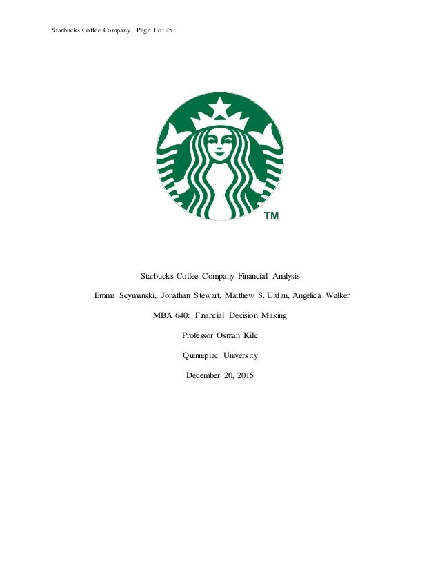 Financial analysis of starbucks corporation
